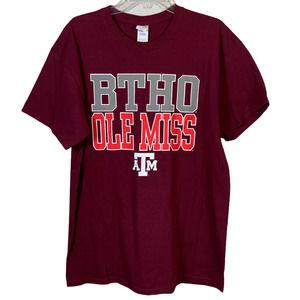 TEXAS A&M Aggies BTHO Ole Miss Tee T Shirt Maroon Size L Football